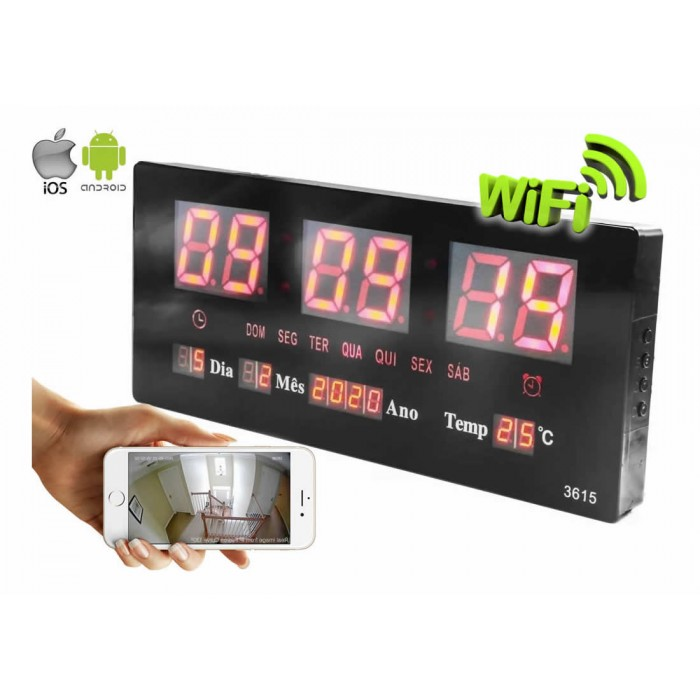Relógio de Parede LED com Câmera Escondida WiFi