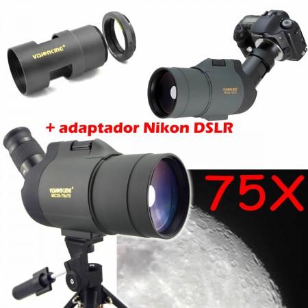 Luneta - Telescópio - VisionKing 25-75x70 BaK-4 - com adaptador Nikon DSLR