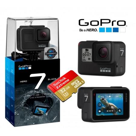 Câmera Esportiva GoPro Hero7 BLACK 4K 60FPS + 32Gb mSD EXTREME Brinde